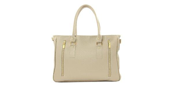 Dámska béžová kožená kabelka s dvomi zipsami Kreativa bags