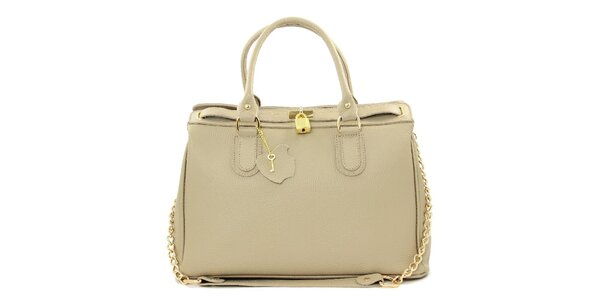 Dámska krémová kožená kabelka s retiazkou Kreativa bags