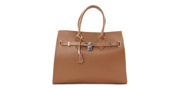 Dámska hnedá kabelka so zámčekom Kreativa Bags