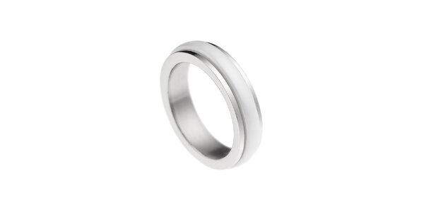 Dámsky prstienok s bielym prúžkom Ceramic Line