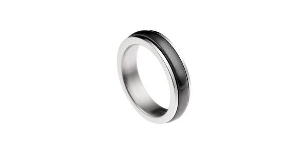 Dámsky prstienok s čiernym prúžkom Ceramic Line