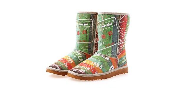 Dámske farebné topánky s cestovateľskou potlačou Elite Goby