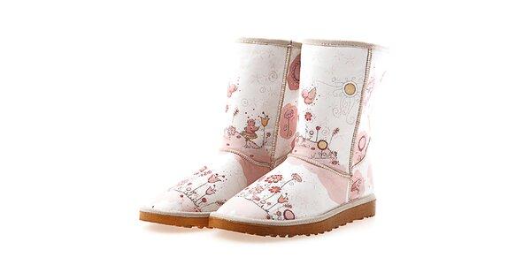 Dámske svetlé ružové topánky s potlačou Goby