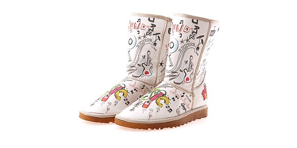 Dámske biele topánky s potlačou Elite Goby