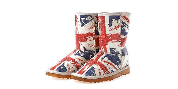 Dámske biele topánky s potlačou britskej vlajky Elite Goby