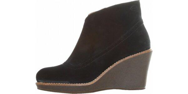 Dámske čierne semišové topánky Dr. Scholl na vysokom podpätku