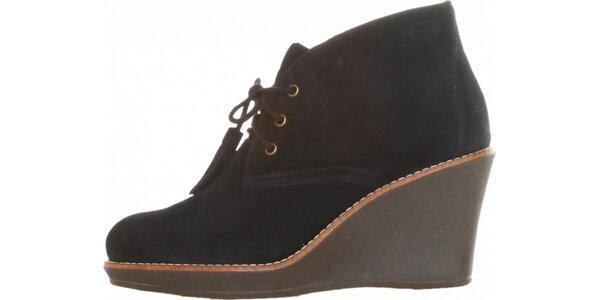 Dámske čierne šnurovacie kotníkové topánky Dr. Scholl s podpätkom