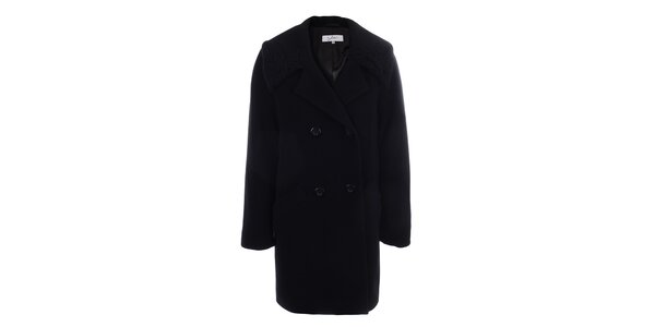 Dámsky čierny dvojradový kabát inAvati