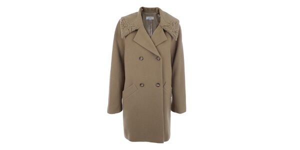 Dámsky hnedobéžový dvojradový kabát inAvati