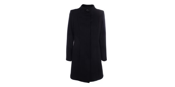 Dámsky čierny kabát so zapínaním na druky inAvati
