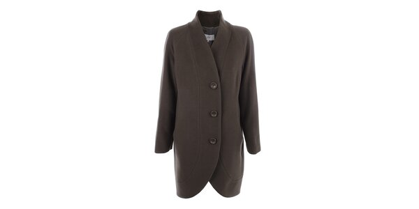 Dámsky kabát s gombíkmi v olivovej farbe inAvati