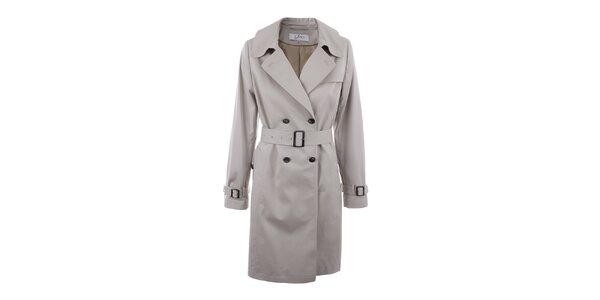 Dámsky béžový dvojradový plášť s opaskom inAvati