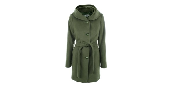 Dámsky zelený kabát s gombíkovým zapínaním Tik Tu
