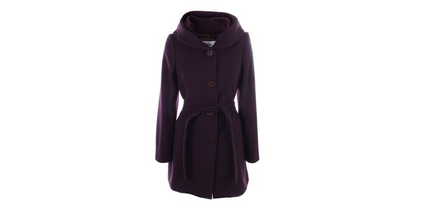 Dámsky fialový kabát s gombíkovým zapínaním Tik Tu