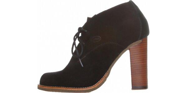 Dámske čierne semišové šnurovacie topánky Dr. Scholl na vysokom podpätku