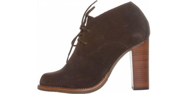 Dámske tmavo hnedé semišové šnurovacie topánky Dr. Scholl na vysokom podpätku