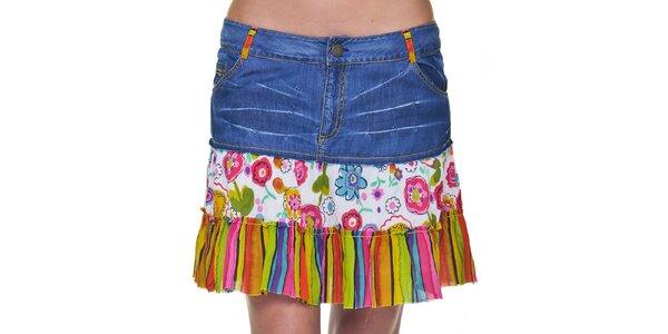 Dámska džínsová sukňa s farebným lemom Peace&Love