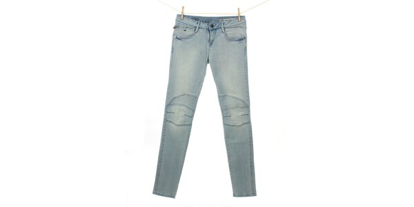 Dámske svetlo modré džínsy Tommy Hilfiger s prešitými kolenami