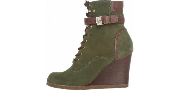 Dámske zeleno-hnedé šnurovacie kotníkové topánky Dr. Scholl s podpätkom