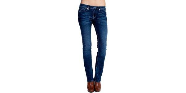 Dámske modré rovné džínsy s šisovaním Galvanni