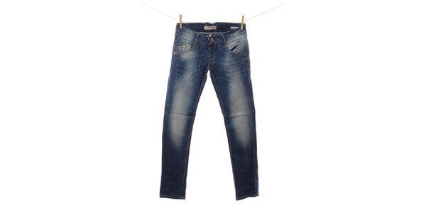 Dámske modré džínsy s odreninkami Fuga