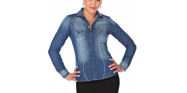 Dámska džínsová košeľa so šisovaním M. Conte