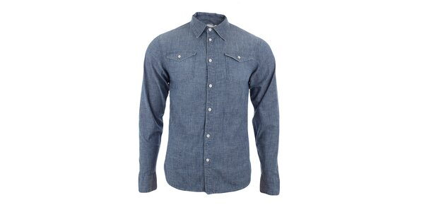 Pánska džínsovo modrá košeľa s dlhým rukávom Big Star
