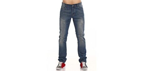 Pánske modré džínsy s vyšúchaním Galvanni