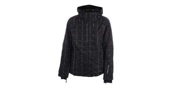 Dámska čierna zimná bunda s kockovaným vzorom Joluvi