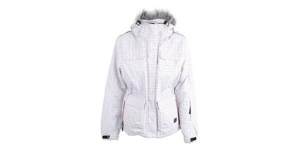 Dámska biela zimná bunda s kockovanou potlačou Joluvi