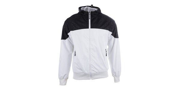 Pánska čierno-biela športová bunda s kapucňou Joluvi