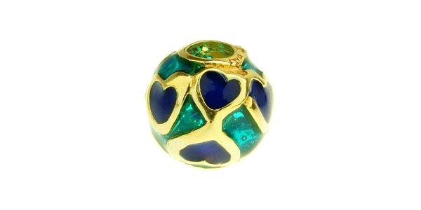 Dámska azúrová korálka s modrými srdiečkami Bacio