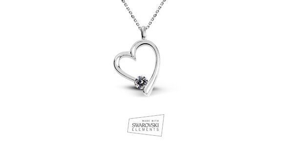 Dámsky srdcový náhrdelník s kamienkom Swarovski Elements