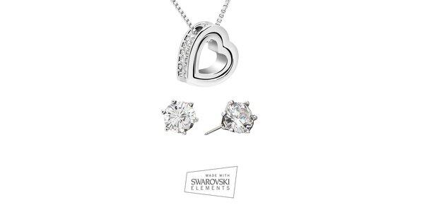 Dámska sada šperkov Swarovski Elements - náušnice s kamienkami a srdcový…