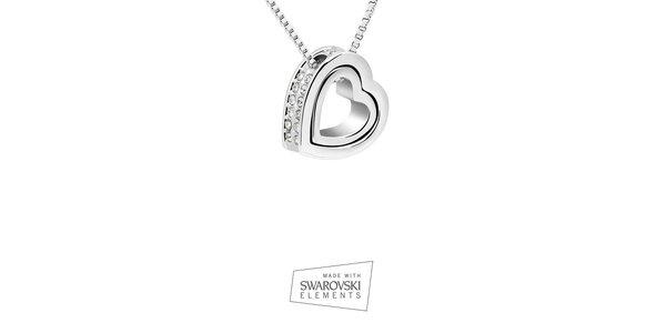 Dámsky náhrdelník so srdcovým príveskom Swarovski Elements