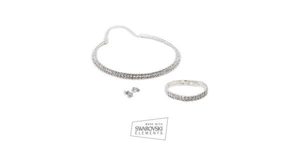 Dámska sada šperkov Swarovski Elements - náušnice, náhrdelník a náramok