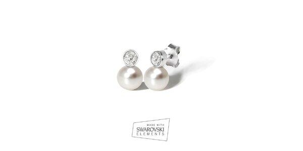 Dámske náušnice s kryštálom a bielou perlou Swarovski Elements