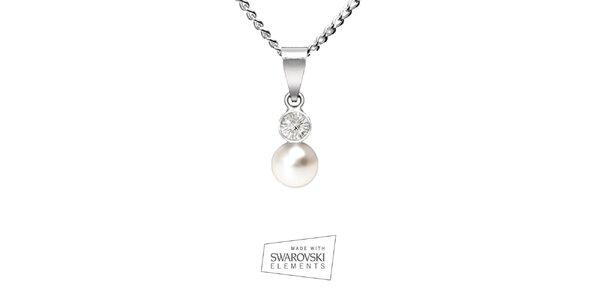 Dámsky náhrdelník s postriebreným príveskom a bielou perlou Swarovski Elements
