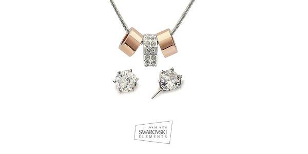 Dámsky set náhrdelníka a náušníc s čírymi kryštálmi Swarovski Elements