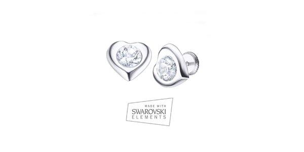 Dámske srdiečkové náušnice s kryštálom Swarovski Elements