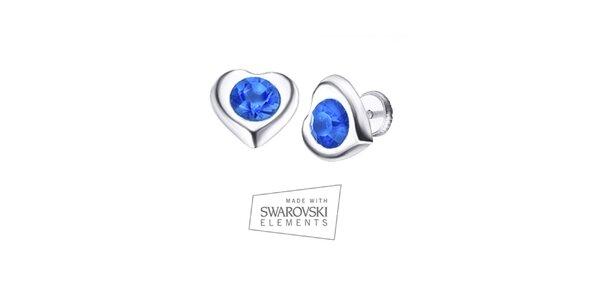 Dámske srdiečkové náušnice s modrým kryštálom Swarovski Elements