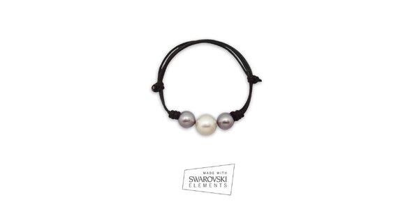 Dámsky kožený náramok s perlami Swarovski Elements