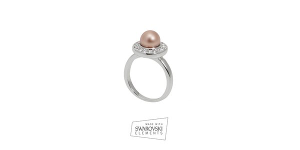 Dámsky prsteň s perlou Swarovski Elements