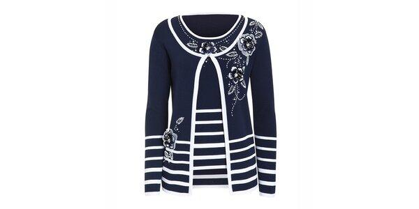 Dámsky modrý-biely set - tričko bez rukávov a kardigán Imagini
