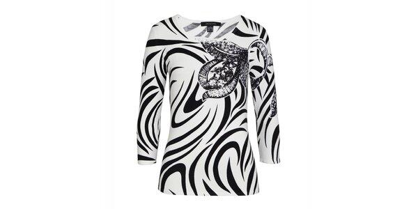 Dámsky čierno-biely svetrík s dekoratívnou aplikáciou Imagini