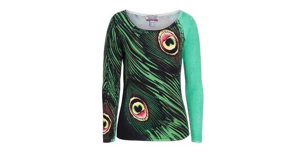 Dámsky zelený svetrík s potlačou pávich pier Imagini