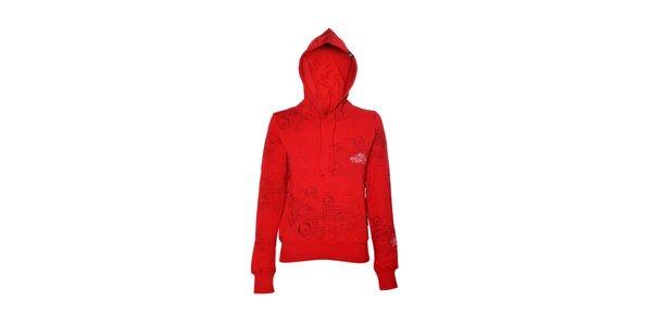 Dámska mikina značky Meatfly v červenej farbe s potlačou
