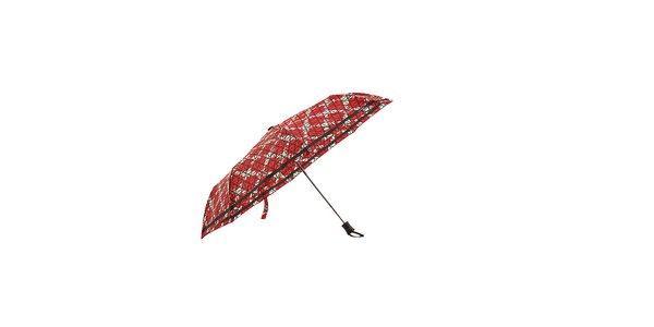 Červený automatický skladací dáždnik Ferré Milano s bielou mriežkou