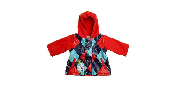 Detská červená károvaná pláštenka Tuc Tuc s vnútorným fleecom