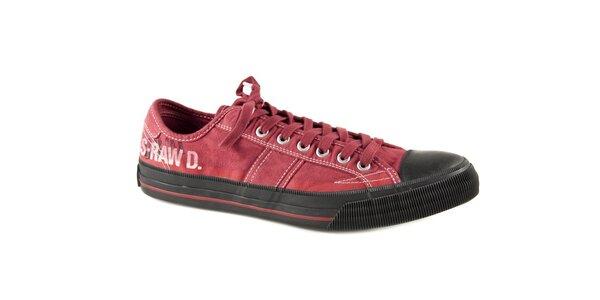 Pánske červené textilné tenisky G-Star Raw s čiernou gumou